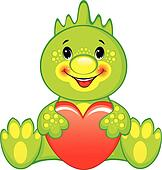 Green dragon with heart