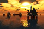 Sea Oil Platform and Tanker