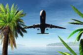 Airplane Arriving in Tropical Parad
