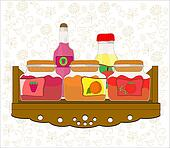 picture of kitchen shelf with bottl