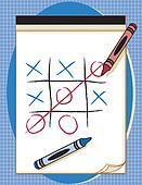 Game, Tic Tac Toe, Paper & Crayons