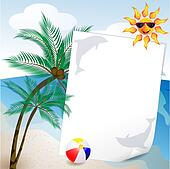 summer and sea background with palm