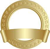 Golden circular frame with scroll