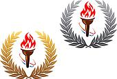 Flaming torch in golden and silver laurel wreath