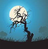Dead Tree Silhouette In The Moonlight