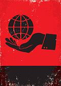 hand and the globe