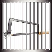 Prison bar and hacksaw