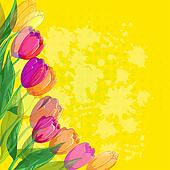 Flowers tulips on yellow background