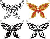 Butterflies with abstract pattern