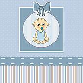 Baby boy arrival announcement card.