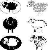 black silhouettes of sheep