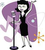Retro Jazz Singer Cartoon