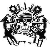 steering whell and skull