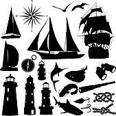 silhouettes of marine recreation
