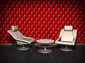 Armchairs on red wall background.