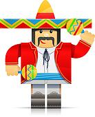 mexicano man origami toy
