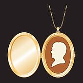 Cameo, Antique Gold Locket, Chain
