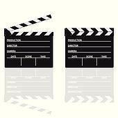 movie clapper with text on it vector illustration