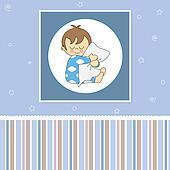 Card baby boy sleeping