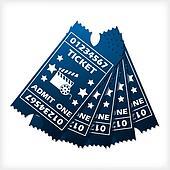 Five blue ticket set spreaded