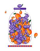 Bank with fruit jam for your design