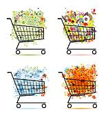 Four seasons concept, bouquets in shopping carts