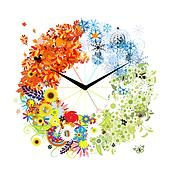 Design of clock. Four seasons, concept.