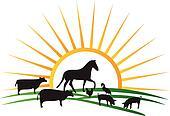 farm animal silhouettes sun vector