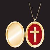 Christian Cross Gold Locket, Chain