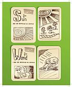 Weather icons. vintage book style