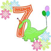 Number seven with a dinosaur