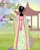 Chinese girl a landscape