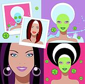 Beautiful woman. Spa Facial Mask.