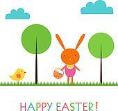 Baby bunny Easter vector card