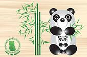 Panda bear illustration with logo
