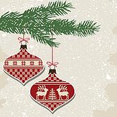 Retro christmas balls with ornament