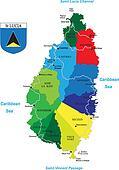 Caribbean island of Saint Lucia map