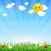 Cartoon Landscape With Sun
