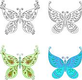 Set abstract butterflies