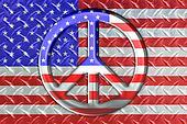 Diamond Steel Flag With Peace Sign