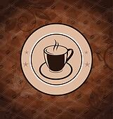Retro background with coffee mug, coffee bean texture