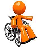 Orange Man in Wheel Chair Gesturing to Audience