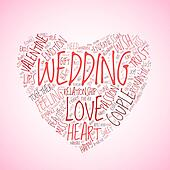 Wedding and love concept in tag cloud