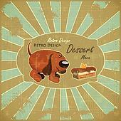 Cartoon Dog and Cake on Grunge Background