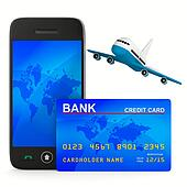 phone and credit card and airplane. Isolated 3D image