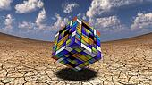 Colorful Cube hovers in desert wash