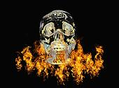 Crystal skull surrounded by fire