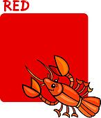 Color Red and Crayfish Cartoon