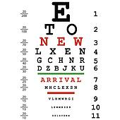 New arrival advertising with optical eye test used by doctors