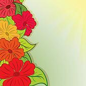 Summer flower bouquet vector background with copy space.